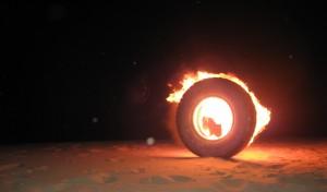 Brennender Reifen