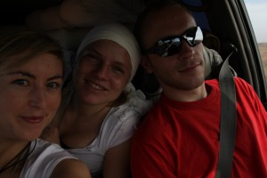 Ania, Regina und Didi bei der Fahrt